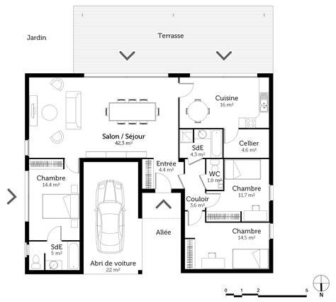 plan age 3 chambres plan maison en u en bois ooreka