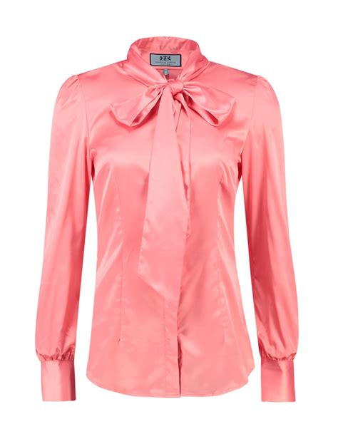 womens blouses 39 s coral fitted satin blouse bow hawes curtis