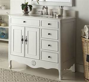 38, Inch, Bathroom, Vanity, Cottage, Style, Distressed, Antique, White, Color, With, 3, Drawers, 38, U0026quot, Wx21