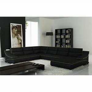 Canapé D Angle Vert : grand canap d 39 angle en cuir noir et vert design achat vente canap sofa divan cuir ~ Teatrodelosmanantiales.com Idées de Décoration