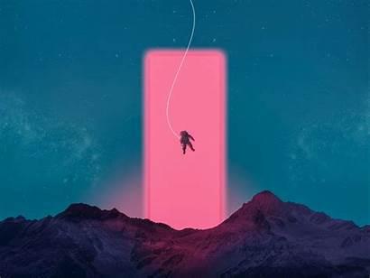 Astronaut Neon Space Mountains Standard