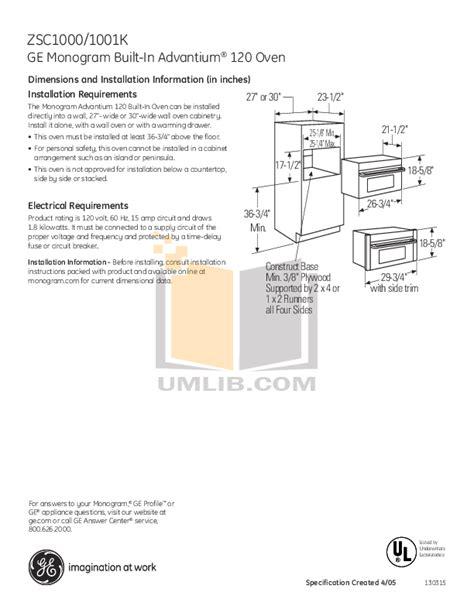 ge monogram advantium zsckss oven manual