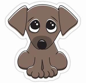 Cute cartoon dog with big, begging eyes | Sticker ...