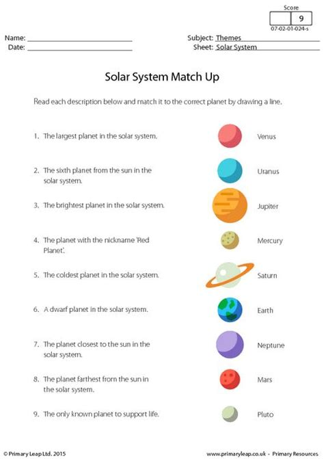 Solar System  Match Up Primaryleapcouk