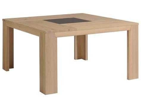 table de cuisine carree table à manger carré bois et verre l140xp140xh77 5cm bruts