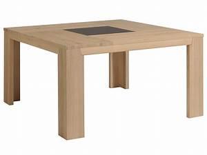 Table à manger carré bois et verre L140xP140xH77 5cm BRUTS Naturel