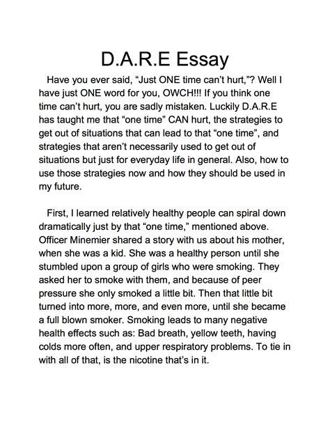 Dare Essay 5th Grade Examples