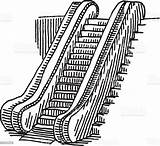 Escalator Drawing Coloring Pages Illustration Vector Istock Getcolorings Graphic sketch template