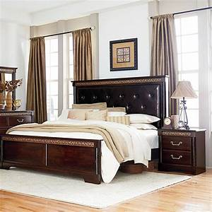 Standard furniture venetian 2 piece panel bedroom set w for Upholstered bedroom sets