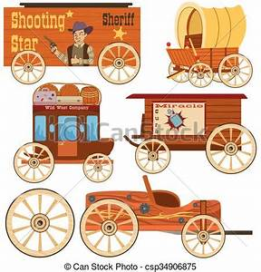 Vectors Illustration of Old west wagon collection - old ...