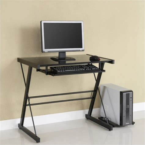 small glass top computer desk walker edison solo small glass top computer desk in black