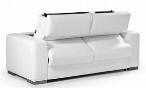 Canape convertible en cuir blanc torino meuble et for Nettoyage tapis avec canape convertible cuir blanc design
