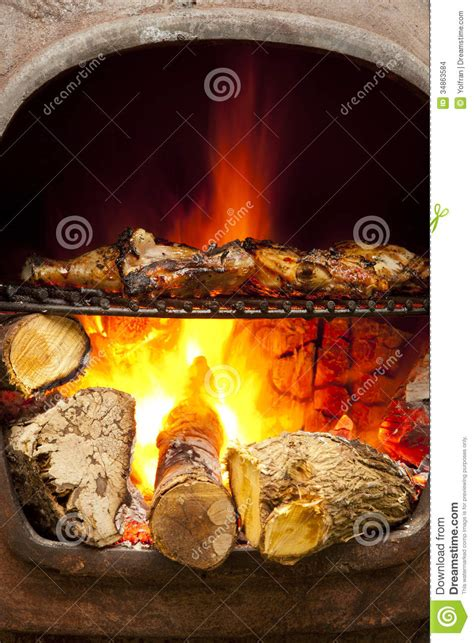 bbq flame grilled oven chicken stock photo image