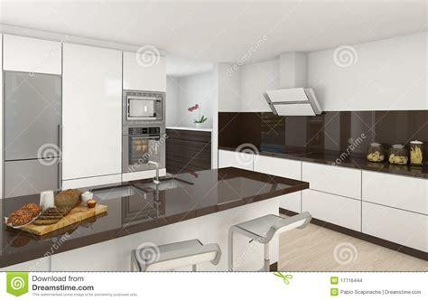 cuisine a et z cuisine moderne blanche et brune illustration stock image 17716444