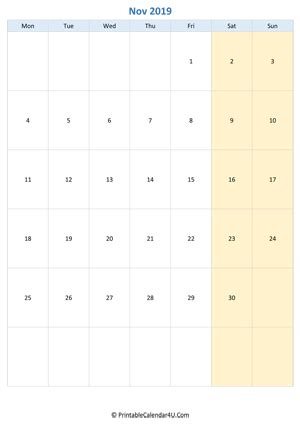 printable november calendar   notes portrait