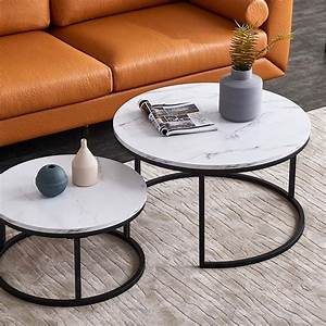 32, Inch, Nesting, Coffee, Table, Round, End, Table, Sets, Waterproof, Siden, Table, With, Marble, Top, For