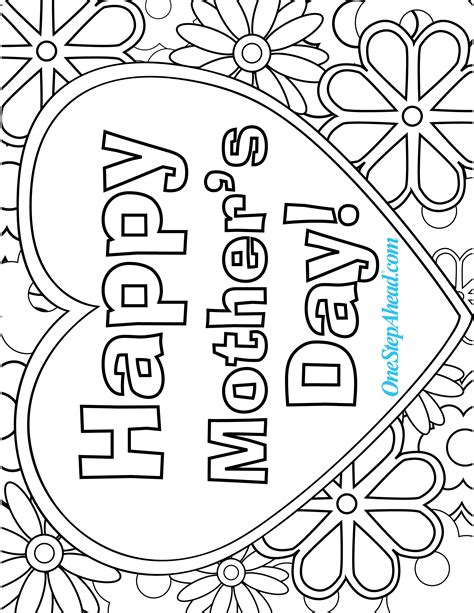 happy mothers day  coloring page printable  kids
