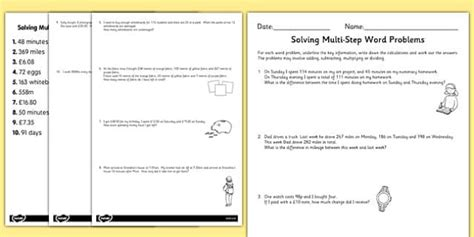 Differentiated Twostep Maths Word Problems Worksheet Activity