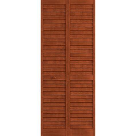 louvered doors home depot interior frameport 24 in x 80 in louver pine mahogany plantation interior closet bi fold door 3115178