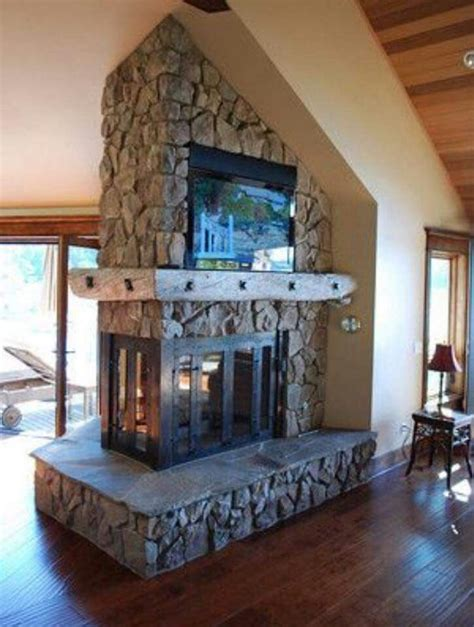 peninsula fireplace   built  tv finally