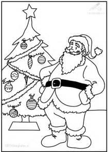 Kleurplaat Boom In De Nacht by Kerstman Bij De Kerstboom