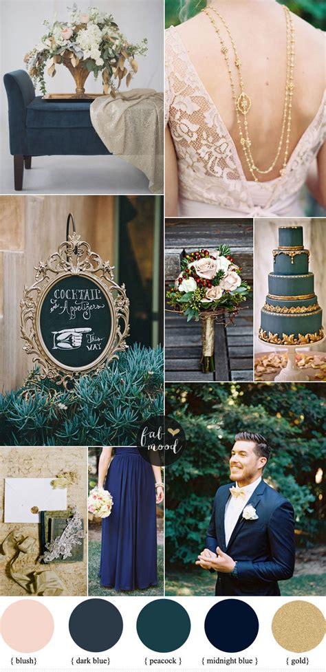 dark blue  gold wedding theme elegant wedding ideas