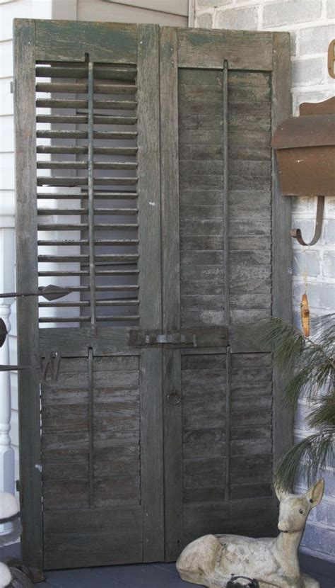pair  european wooden rustic shutters door antique