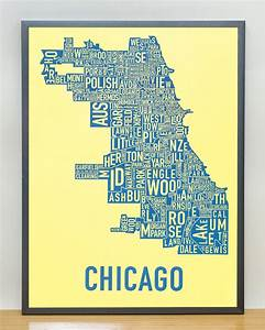 Chicago Neighborhood Map 18 U0026quot  X 24 U0026quot  Yellow Screenprint