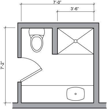Small Bathroom Designs Floor Plans by Three Quarter Bath Floor Plan Small Bathroom