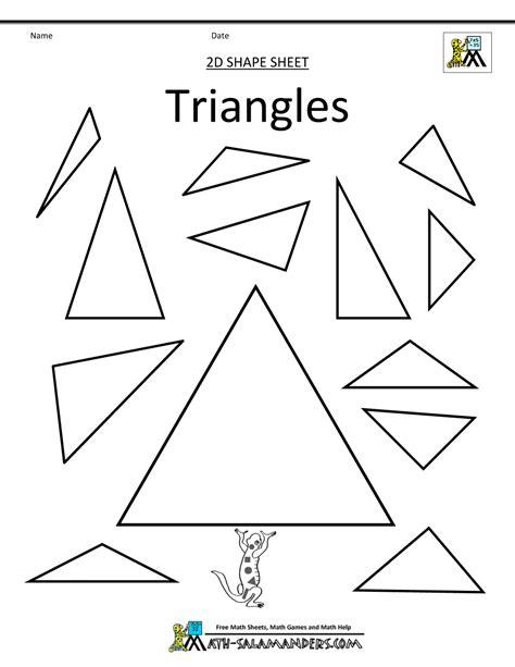 triangle shape worksheets for kindergarten tracing