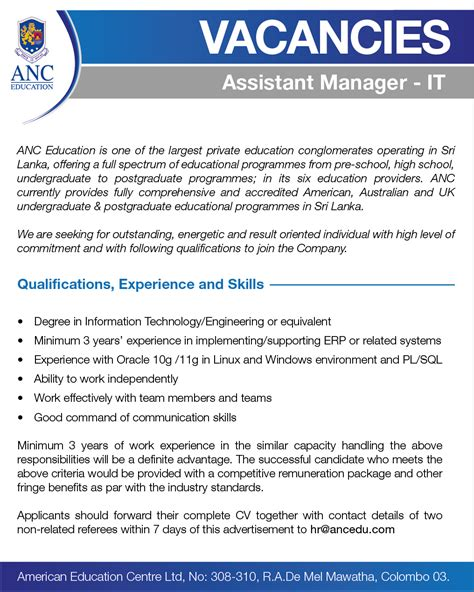 IT Assistant Manager Job Vacancy in Sri Lanka
