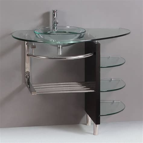 bathroom vanity with sink and faucet shop kokols usa clear vessel single sink bathroom vanity