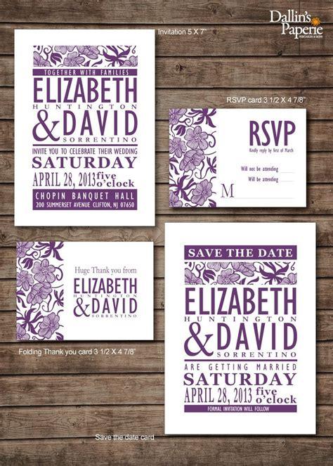damask purple flower wedding invitation rsvp