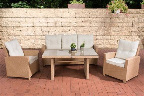 Poly Rattan Essgruppe Fisolo, 2 X Garten Sessel + 3er Sofa