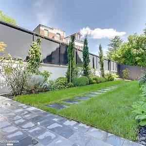 Un jardin graphique et contemporain, Terrasses des Oliviers Paysagiste Paris Côté Maison