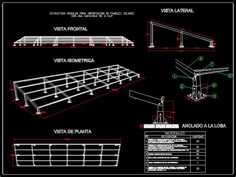 modular structure  kwp solar panel dwg block  autocad