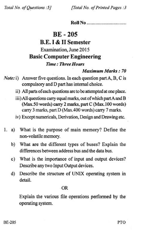 RGPV BE Question Paper of BE-205 BASIC COMPUTER