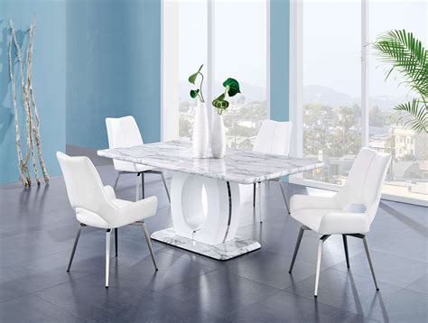 contemporary marble finish  white swivel chairs
