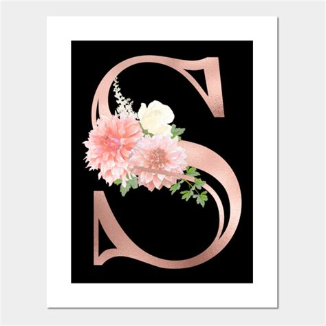 monogram rose gold letter  blush pink flowers  posters  art prints teepublic