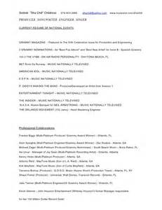 resume a song of and production songwriting engineering resume