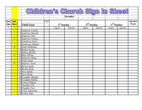free church nursery sign in sheet template thenurseries