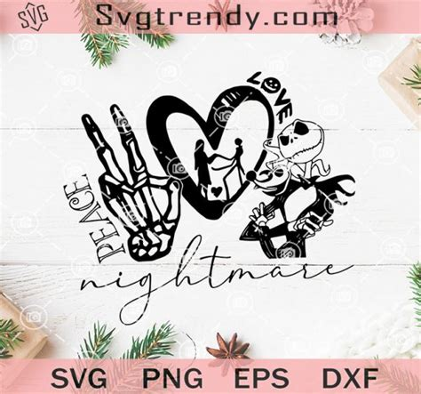 Apr 28, 2021 · eps file for adobe illustrator, inkspace, corel draw and more. Peace Love Nightmare SVG, Nightmare Before Christmas SVG ...
