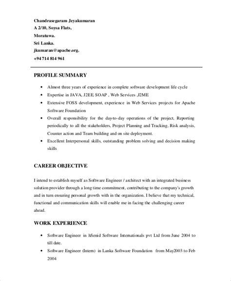Resume Summary Software Engineer by Sle Software Engineer Resume 8 Exles In Word Pdf