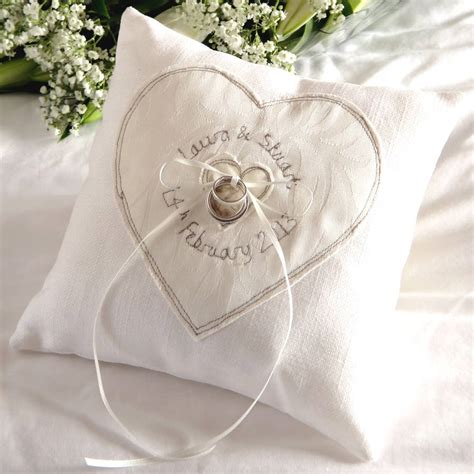 personalised wedding ring pillow by milly and pip notonthehighstreet com