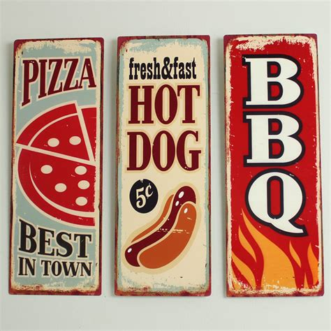 plaque metal cuisine set of 3 metal vintage retro style food wall plaques cafe
