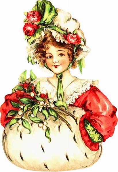 Clipart Christmas Victorian Lady Santa Ladies Transparent