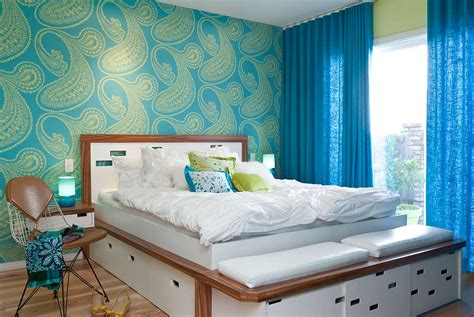 Modern, Colorful Bedrooms : Lime Green And Blue Modern Bedroom Decorating Ideas