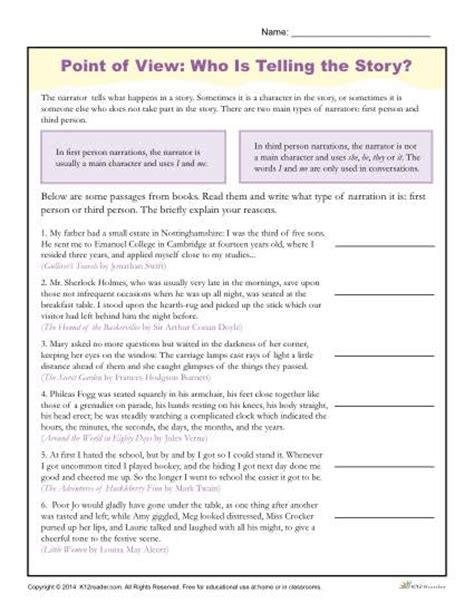 point of view worksheets who is telling the story