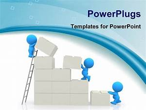 Powerpoint template small blue figures building wall from for Power plugs powerpoint templates