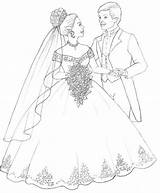 Coloring Pages Groom Bride Sheets sketch template